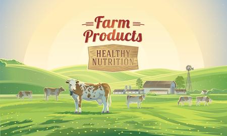 amanecer paisaje rural con las vacas y una granja en el fondo.