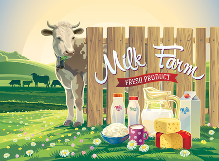 alpine: Set of milk products from farm with illustrations a cow, and rural landscape.