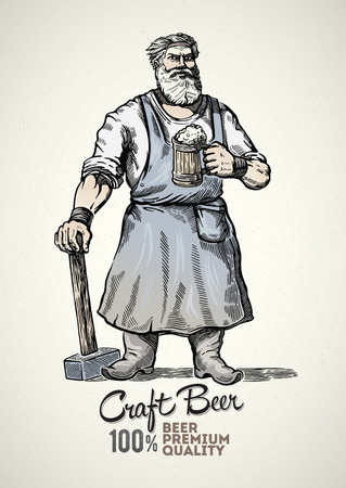 Happy blacksmith standing with hammer is holding a mug full of beer. Ilustração