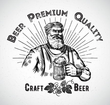 mug: Happy characters brewer or craftsmans holding a mug full of beer, in engraving style.