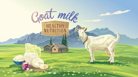 queso de cabra: paisaje de montaña con cabra y fijar producto lácteo con el pueblo en el fondo.
