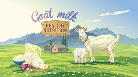 Mountain landscape with goat and kid. Set dairy product with village in background.