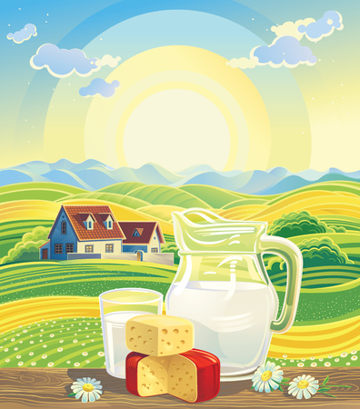 country flowers: Sunny summer landscape with a still life of dairy products.