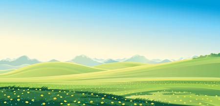 夏の山の風景。ベクトルの図。  イラスト・ベクター素材