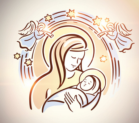 infant jesus: Blessed Virgin with the infant Jesus in her arms. Nativity, Christmas illustration. Raster illustration. Stock Photo