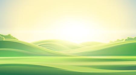 Zomer landschap, zonsopgang over de heuvels, kan worden gebruikt als achtergrond afbeelding. Stockfoto