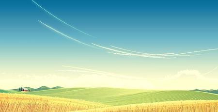 Le paysage rural avec le blé et la maison est créé pour être utilisé comme image de fond. Illustration de trame. Banque d'images