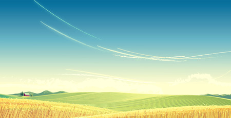 Rural landscape with wheat and house, is created for use as a background image. Raster illustration.