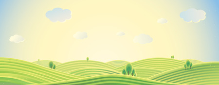 panorama view: Summer rural landscape, panorama view, sunrise over the hills, can be used as background image.