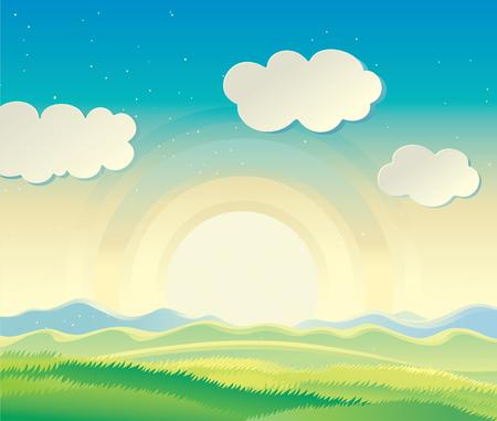 rolling hills: Nature landscape, sunrise over the hills. Illustration
