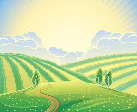 morning sunrise: Summer rural landscape with hills and road. Sunrise over the hills that morning. Illustration