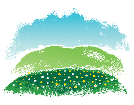 Hilly rural landscape with flowers, hand drawn Illustration.