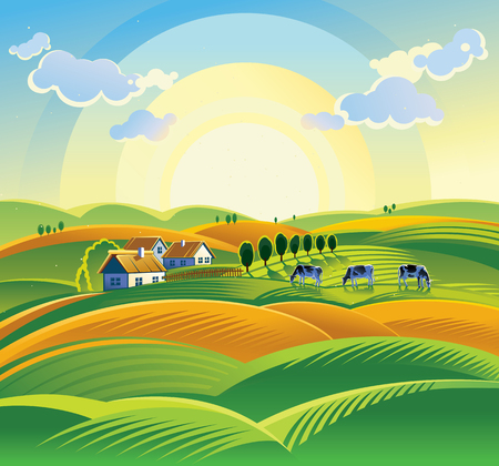 Summer sunrise landscape with village and cow.