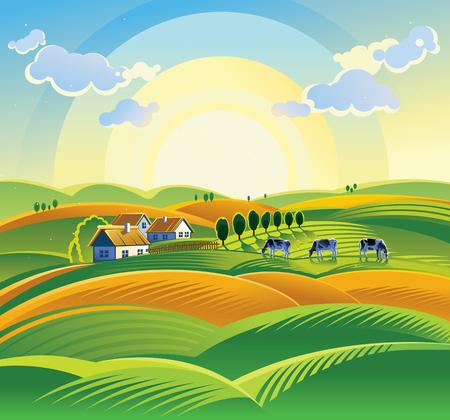Zonsopgang van de zomer landschap met dorp en de koe.