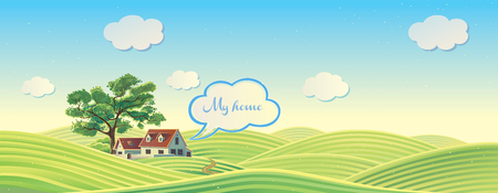 hilly: Hilly rural landscape with house and tree. Illustration