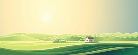 crop margin: Rural summer landscape, sunrise morning, with one house. Illustration