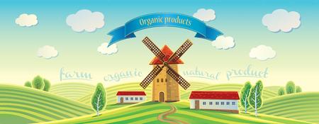 Landwirtschaftliche Sommerlandschaft mit Windmühle und Band als Gestaltungselement. Vektorgrafik