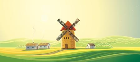 Landelijk zomer landschap met molens en bakkerijen.