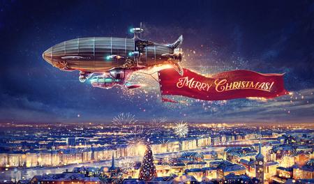 お祝い、お祝いバナーの街の幻想的な飛行船。ラスターの図。