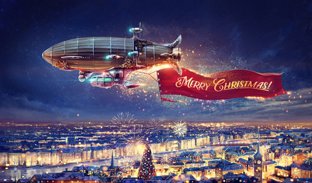 Fantastic airship over the city with a congratulatory, celebratory banner. Raster illustration.
