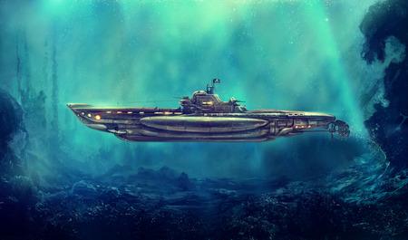 수중 환경에서의 환상적인 해적 잠수함. 디지털 아트, 래스터 그림입니다.