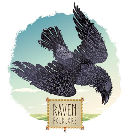 Flying raven against the landscape, illustration in the decorative folk style, with ornament frame. Illustration
