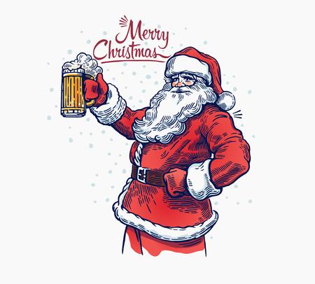 손에 맥주와 함께 유쾌한 산타 클로스입니다. 삽화 일러스트