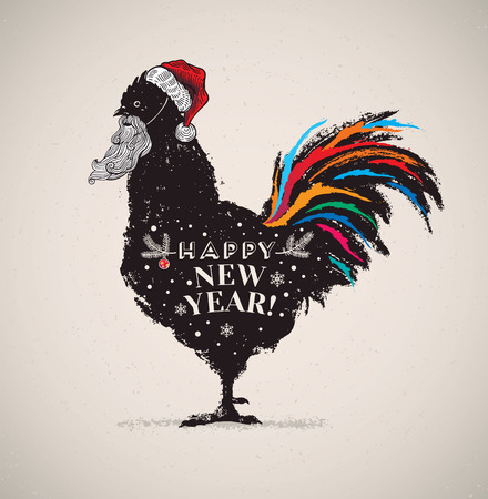 Symbolic picture of a rooster in a hat and with a Santa Claus beard. The comic image of a rooster - the symbol of the coming year. Illustration