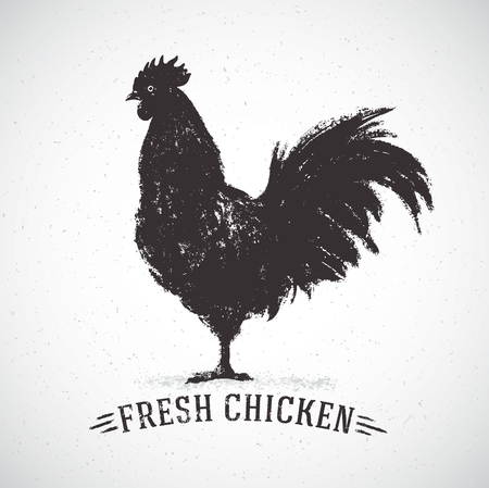 Graphic silhouette of a rooster and inscription, hand-drawn illustration.