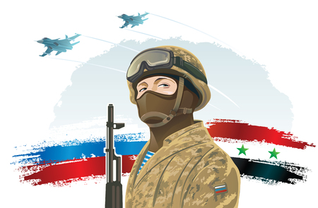 Russian special forces soldier on the background of the Russian and Syria flag