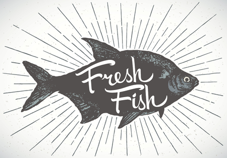 spawn: Fish label, silhouette of a fish with the inscription