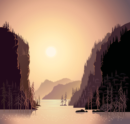 Sunrise in wild nature, landscape with mountains and water, taiga and forest.