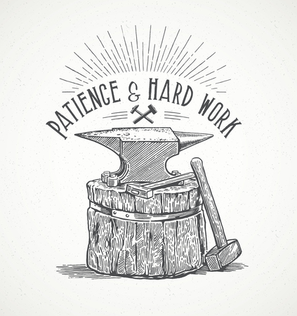 metalwork: Blacksmiths anvil and inscription in graphic style. Hand drawn illustration.