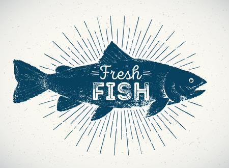 Silhouet van vis in de grafische stijl, met de hand getekende illustratie.