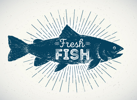 Silhouette of fish in the graphic style, hand-drawn illustration.