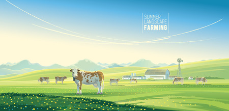 Landelijk landschap met koeien en boerderij met berglandschap in de achtergrond.