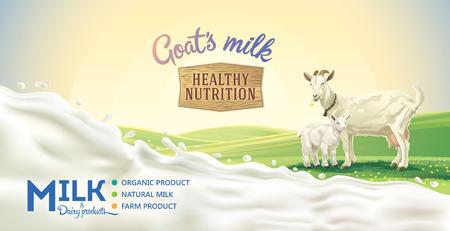 paisaje rural con la cabra y cabrito, chorrito de leche como elemento de diseño. Ilustración de vector