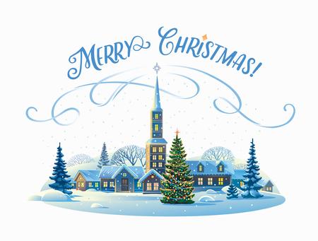 겨울 마을과 크리스마스 트리 축제 농촌 풍경. 일러스트