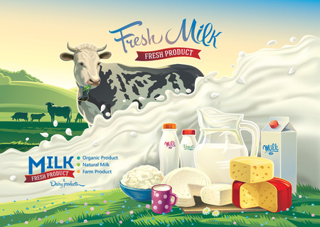 illustration with a cow, a splash of milk and a set of dairy products: cheese, milk, yogurt, against the background of a rural landscape. Illustration