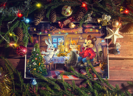 toy story: Christmas Illustration with cartoon characters from illustration in a themed environment.