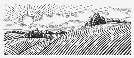 bezel: Rural landscape with hills, in the graphic style, illustration is hand-drawn. Illustration