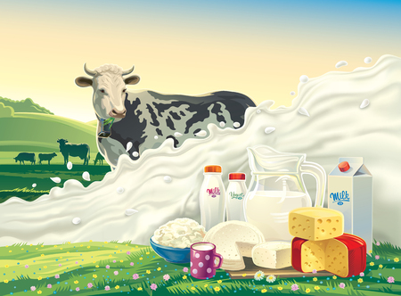Cow, and splash of milk and set of dairy products: cheese, milk, yogurt, against the background of a rural landscape. Vector illustration. 矢量图像