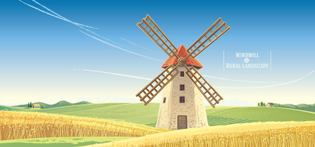 Rural landscape with windmill, vector illustration. Çizim