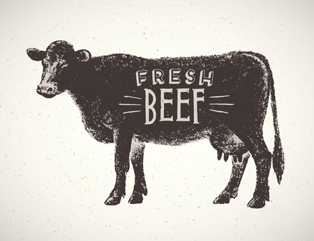 cow silhouette: Graphical silhouette cow hand drawn illustration.