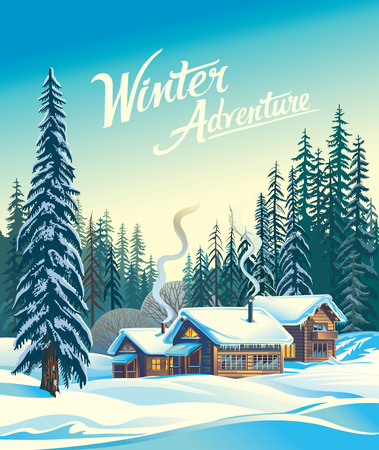wilds: Winter forest landscape and the houses, shelter for tourists. Illustration