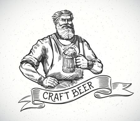 幸せの醸造業者や職人の文字彫刻のスタイルのビールの完全なマグカップを保持