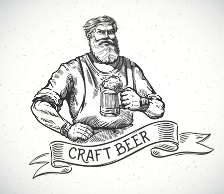 Happy brewer or craftsmans characters holding a mug full of beer, in engraving style. Illustration