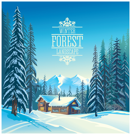 wilds: Winter forest landscape and the houses, possible shelter for tourists, tourist base.