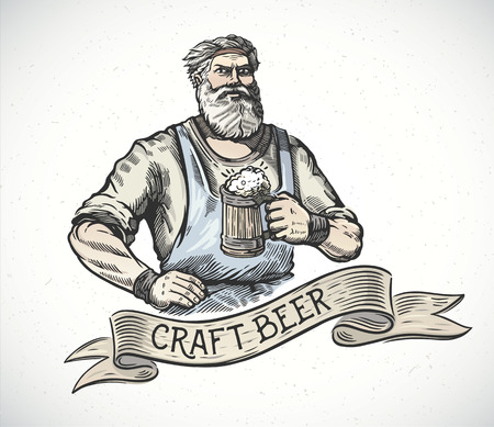 brewer: Happy brewer or craftsmans characters holding a mug full of beer, in engraving style. Illustration
