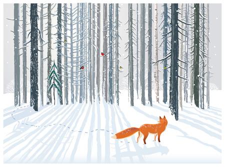 Winter bos landschap met een vos.
